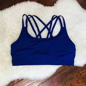 Gap Fit Cobalt Blue Strappy Back Sports Bra sz L